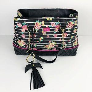 Betsey Johnson Striped Flower Chain Strap Handbag